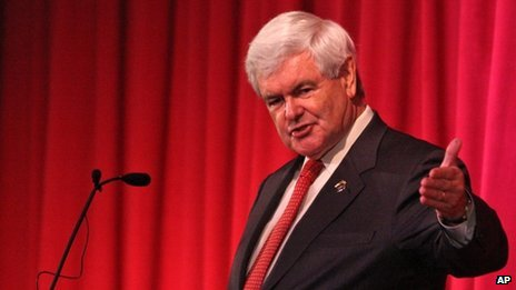 Newt Gingrich speaks to students in Rutherford, North Carolina 25 April 2012