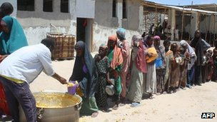 Children queue for food aid in Somalia