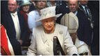 The Queen is watched by the congregation as she leaves after a service at Llandaff Cathedral, Cardiff