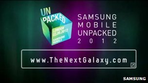Samsung Galaxy smartphone tease screenshot
