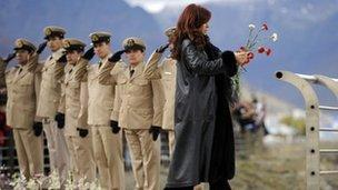Argentine President Cristina Fernandez de Kirchner marks the 30th anniversary of the Falklands War