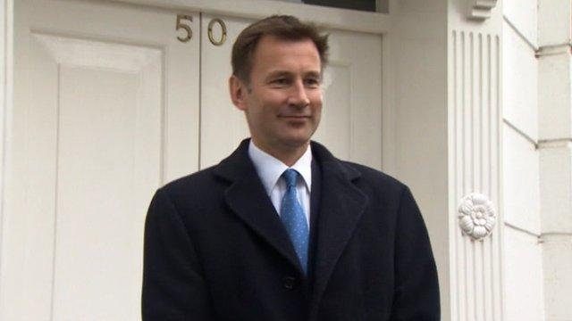 Jeremy Hunt outside his home in London