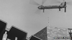 British Pathe footage of the spire being put into place in 1962