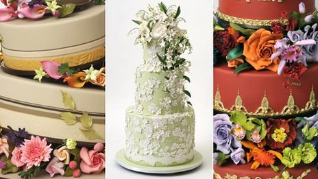 Three close-ups of wedding cakes