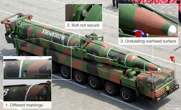 Annotated image of N Korea missile