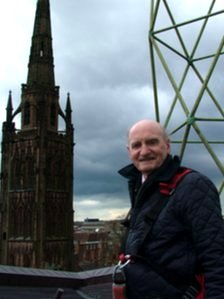 Ron Salt ascending the roof of Coventry Cathedra