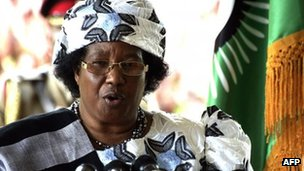 Malawi's new President Joyce Banda at a press conference on 10 April 2012 in Lilongwe
