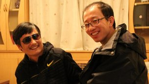 Chen Guangcheng and Hu Jia appear together in photo released by Mr Hu&#039;s wife Zeng Jinyan on social network site Twitter