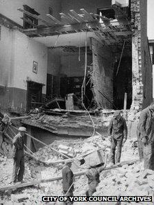 People inspect the damage to Bar Convent's East Wing