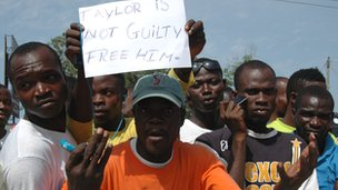 Pro-Taylor supporters in Monrovia, 26 April 2012