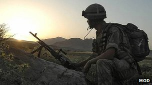 A British soldier in Helmand Province