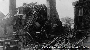Damaged house in York