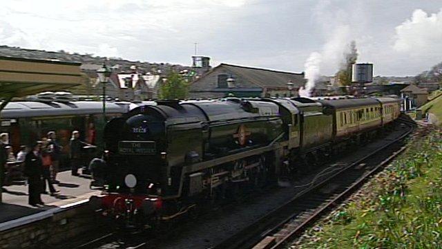 Locomotive arriving at Swanage railway station