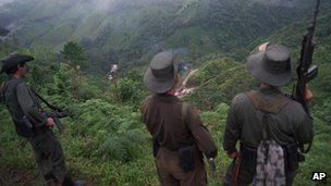 Farc rebels watch a road block in Caqueta state, file picture