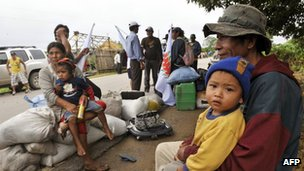 Indigenous Bolivians from Tierras Bajas rest after arriving in Barador, Trinidad, 27 April 2012