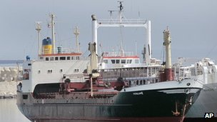 "The ship ""Lutfallah II"" believed to be carrying three containers of weapons, is docked at a Lebanese navy base, in Beirut, Lebanon, on Saturday April 28, 2012."