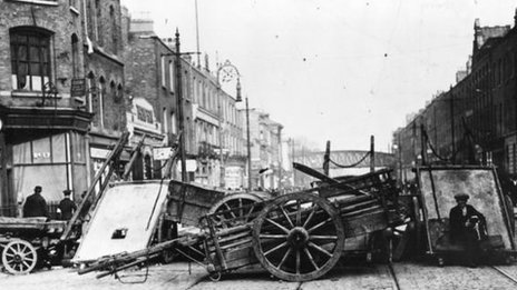 A barricade in Great Brunswick Street, Dublin, during the Easter Rising