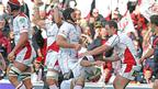 Ulster players celebrate after Pedrie Wanneburg goes over for a try after 13 minutes
