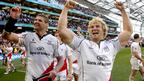 Ulster captain Johann Muller and Paddy McAllister celebrate with fans after Saturday's victory