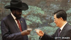 South Sudan President Salva Kiir and Chinese President Hu Jintao