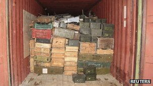 Picture released by Lebanese Army of arms it says were found on the Lutfallah II, 28 April 2012