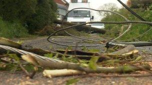 Fallen power lines in Somerset