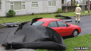 Wind damage in Bridgend