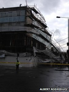 Scaffolding over building in Notting Hill, west London, brought down by the wind