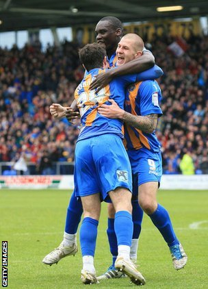 James Collins celebrates his promotion-winning goal