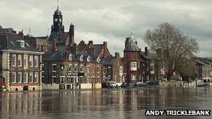 The King's Staith in York following a week of heavy rain. Photo: Andy Tricklebank