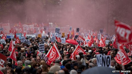 People attending a rally against austerity in Madrid, Spain, on 29 April 2012.