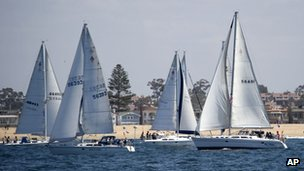 Boats at the start of the Newport to Ensenada race, 27 April 2012