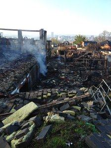 Aftermath of fire at Sheffield Ski Village