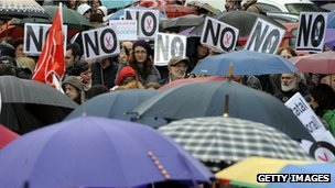 Demonstrators in Madrid