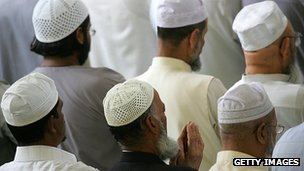 Muslims praying at an east London mosque