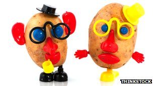 Potatoes with Mr Potato Head eyes, nose and so on