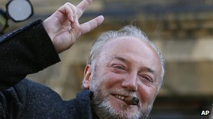 Respect MP George Galloway after his victory in the Bradford West by-election
