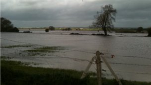 Flooding in the Curry Moor area, Somerset Levels