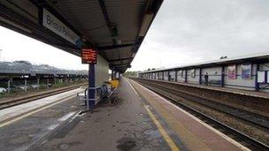 Empty platforms at Bristol Parkway railway stations