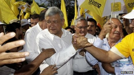 Andres Manuel Lopez Obrador on the campaign trail in April