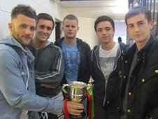 Kieron Barton (far right) with team-mates from Bamber Bridge football club