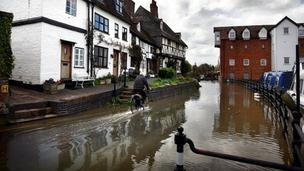 Floodwaters rise around Mill Street, Tewkesbury