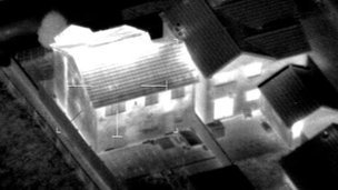 Photograph of a house&#039;s cannabis farm highlighted with thermal imaging equipment