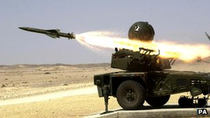Rapier missile being test fired
