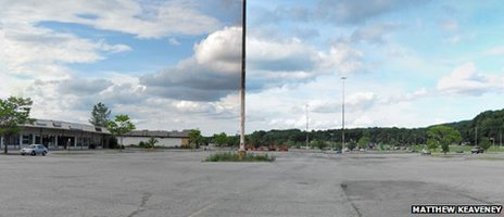 The unused parking lot at the Dutchess Mall in Fishkill, New York state