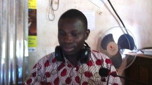A former LRA abductee, Emmanuel Daba broadcasts on Radio Zereda in Oga, Central African Republic