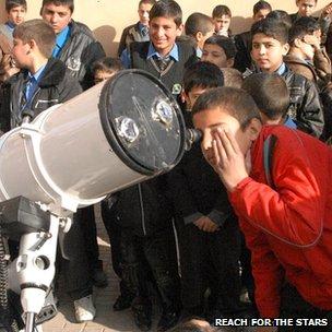Boys with telescope