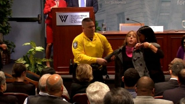 Protester has disrupted a news conference