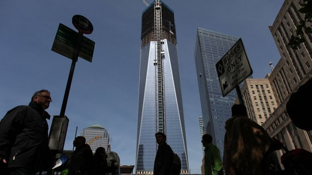 One World Trade Center building, which is under construction on the site of the destroyed original World Trade Center