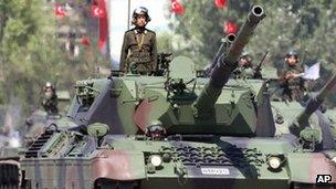 Turkish tanks during a military parade in Ankara. File photo